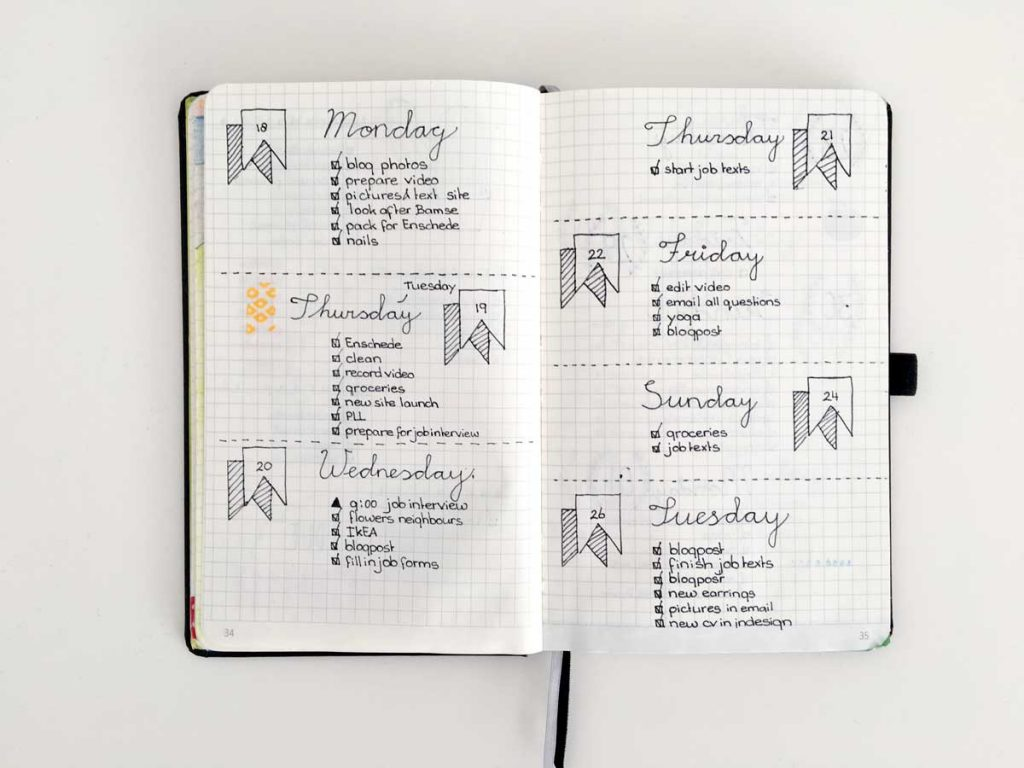 Bullet journal with weekly schedule
