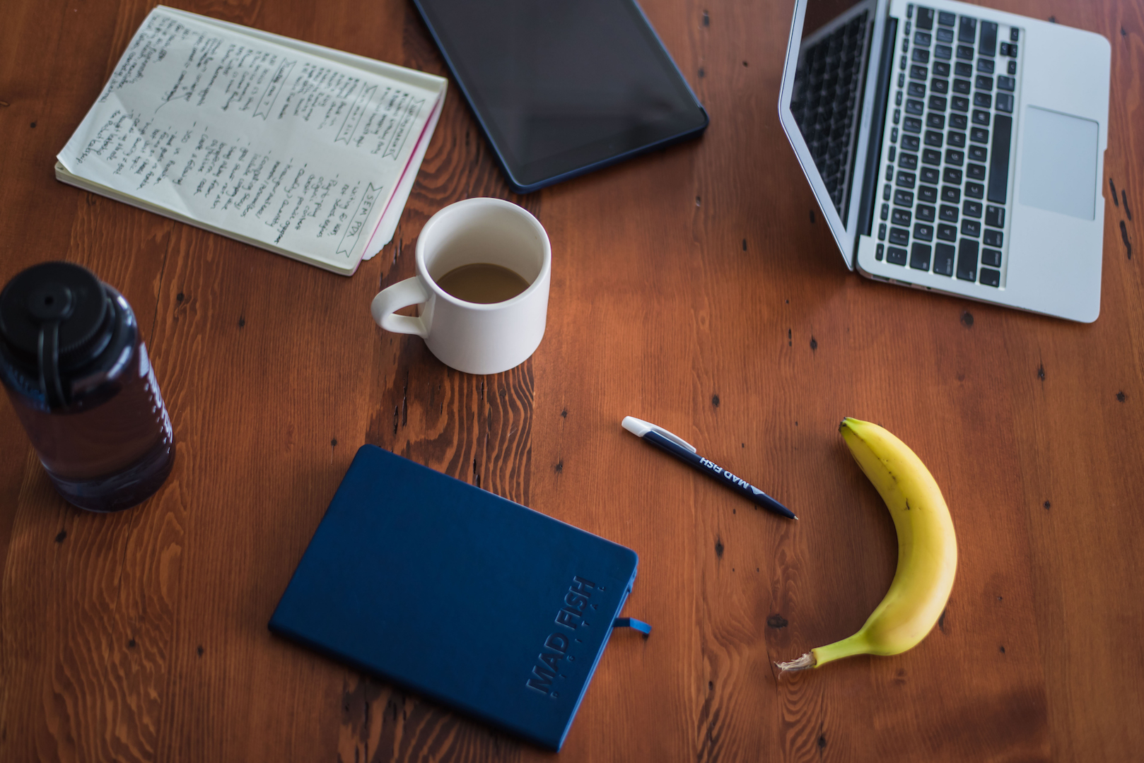 Assorted office items on a table