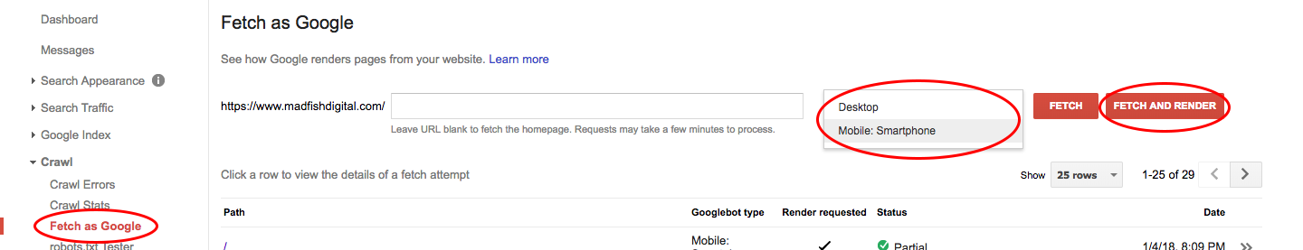 Google Search Console Mobile Fetch & Render